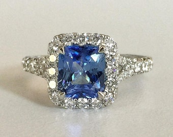 1.74ct Blue Sapphire and Diamond Halo Ring in 18K White Gold