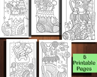Christmas Coloring Etsy