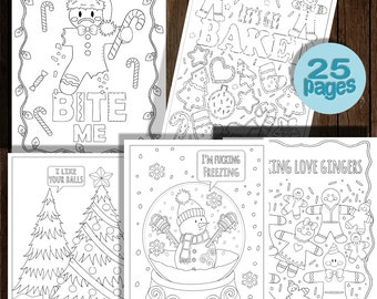 Festive As Fck Christmas Coloring Book 25 Pages Instant Download