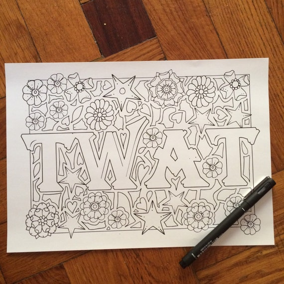 Sweary Coloring Page Twat Swearing Pages