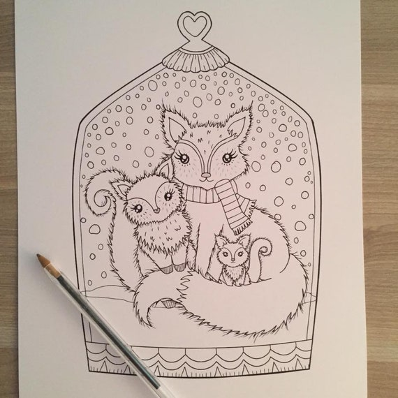 winter foxes coloring page Christmas Coloring PAGE Printable | Etsy