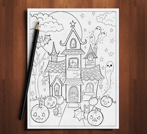 Haunted house coloring pagehalloween coloring page halloween