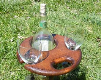 Magnum Folding Wine Table, Wine glass holder, outdoor wine glass holder, outdoor wine table with bottle holder
