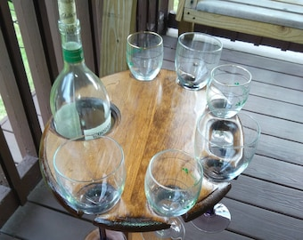 Wine Table for Serving Wine - Holds Six wine glasses and a Magnum sized wine bottle. A Great way to entertain with wine !