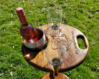 Folding Wine Table - With Custom Engraving !  Holds 2 wine glasses and a wine chiller with a bottle of wine. Great for Patio, Deck, Porch