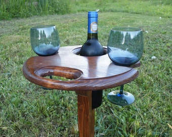 Wine Gift  - Gift for a Wine Lover. Folding Wine Table.