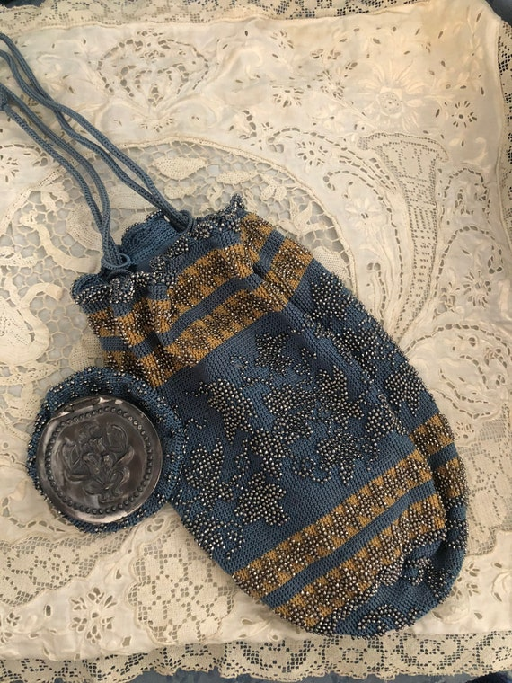 Late Victorian Steel Beaded Purse and Matching Coi
