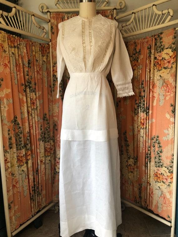 Edwardian White Embroidered Dress