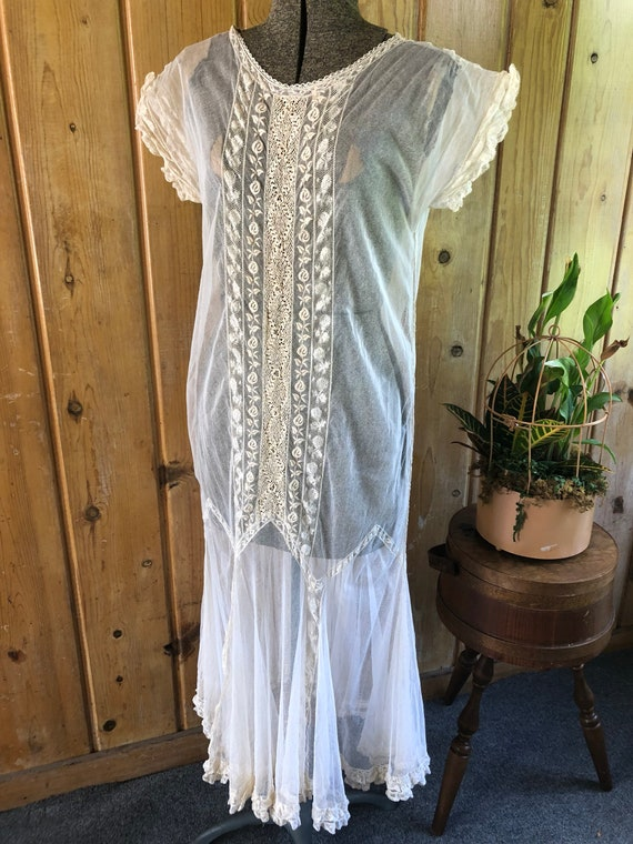 1920s Net Cotton Tulle Dress, with Lace accents