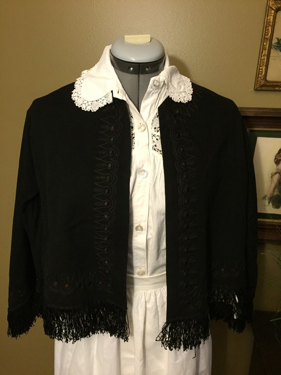 Victorian Black Wool and Hand Embroidered Jacket