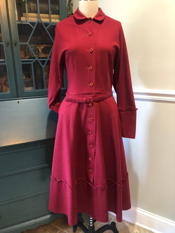 Late 1940's early 50's Cranberry Red Wool Dress - image 1