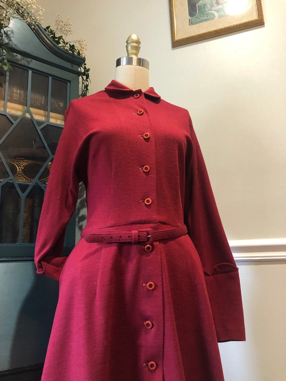 Late 1940's early 50's Cranberry Red Wool Dress - image 4