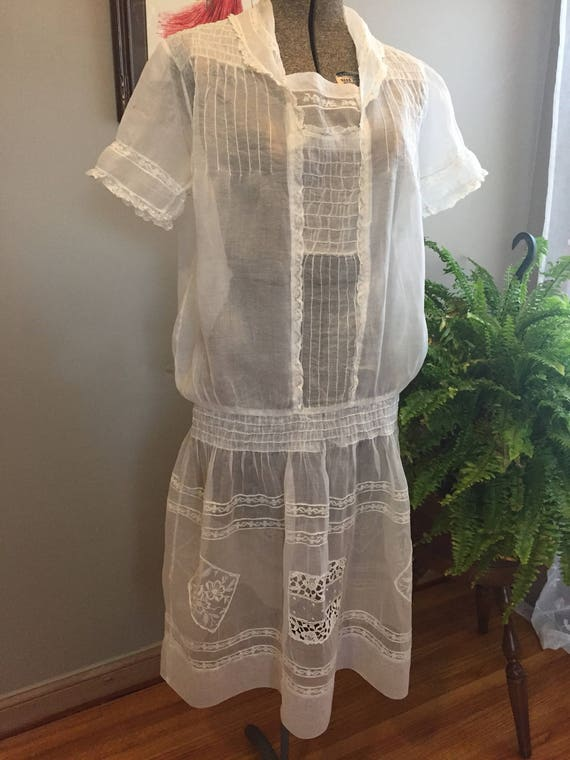 1920's White Cotton Organdy Dress