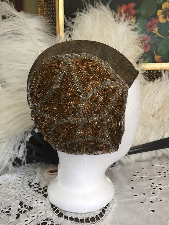 1920's Metallic Mesh and Hand Beaded Skull Cap
