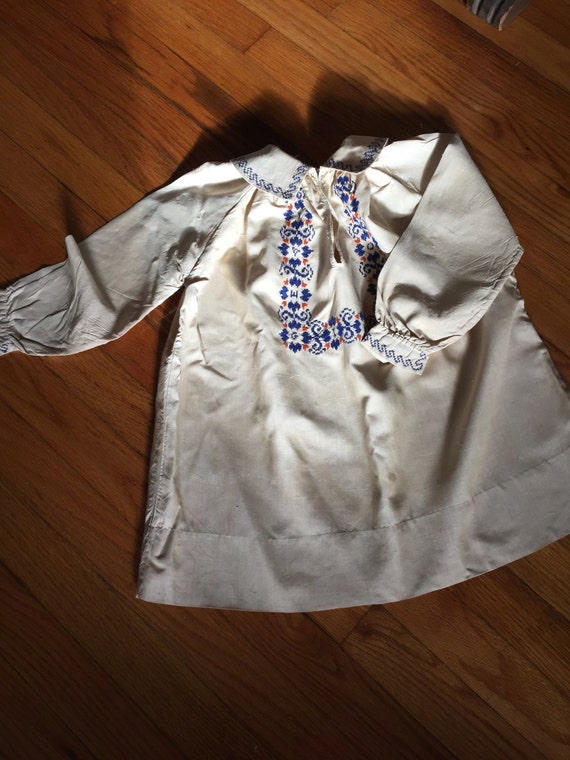 1930's Hand Embroidered Pongee Silk Dress for Chil