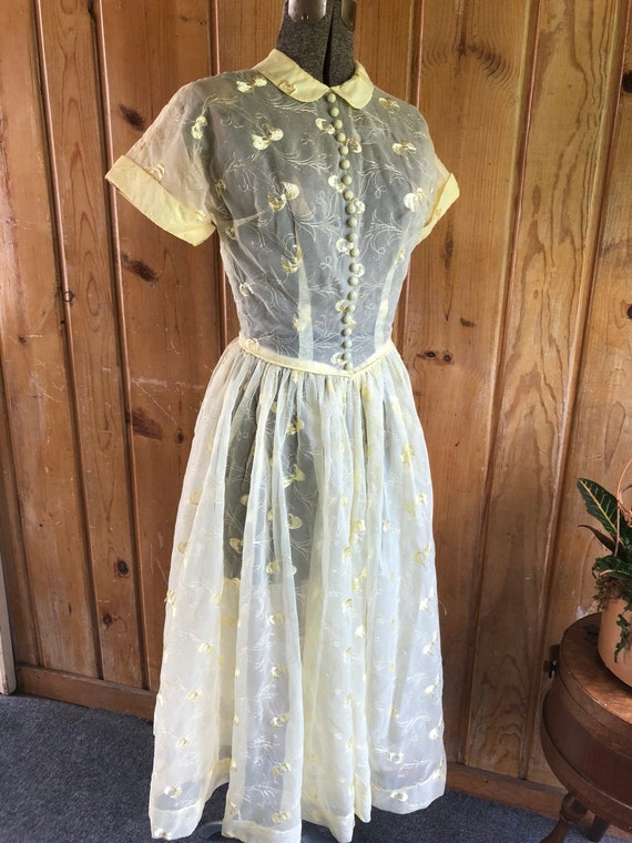 1950's Summer Nylon Embroidered Dress