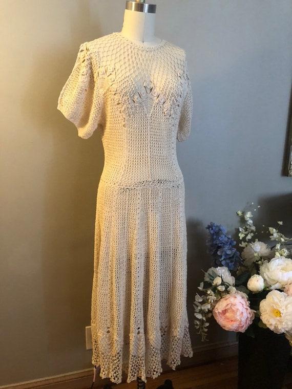 Late 1930's Hand Crochet Dress in Cream