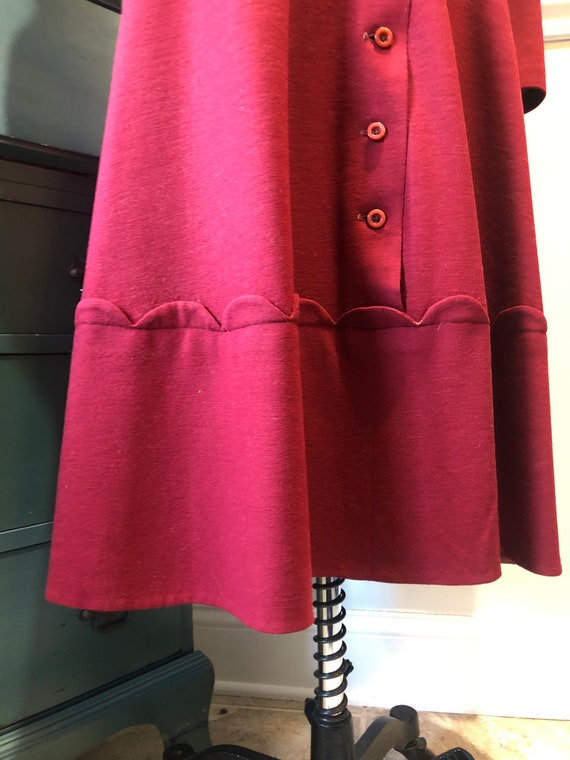Late 1940's early 50's Cranberry Red Wool Dress - image 6