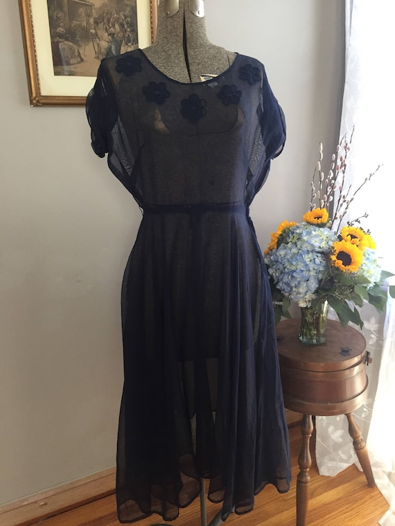 1940's Sheer Navy Blue Dress