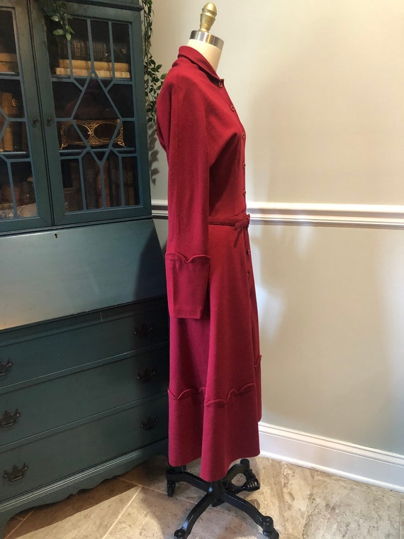 Late 1940's early 50's Cranberry Red Wool Dress - image 2