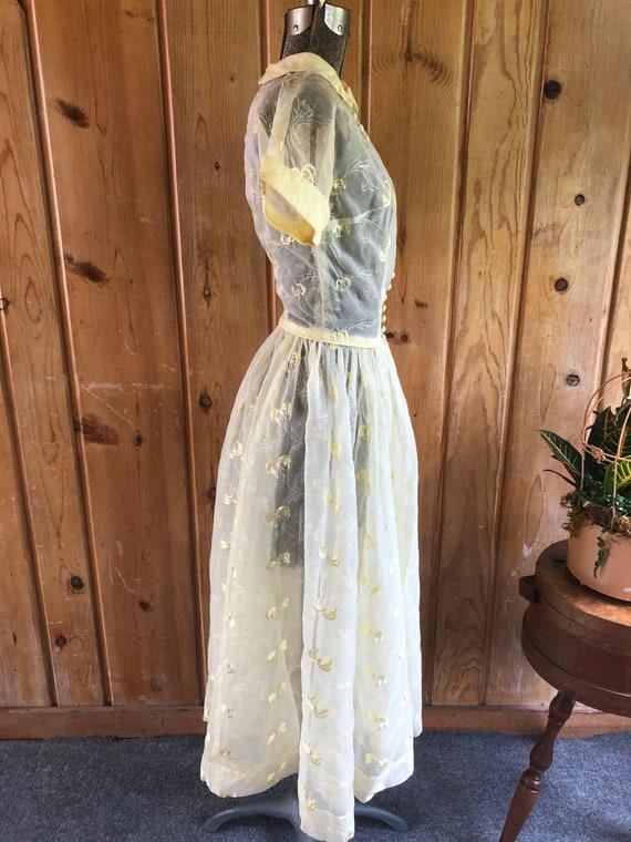 1950's Summer Nylon Embroidered Dress - image 2