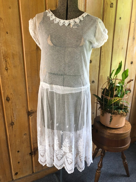 1920's White Cotton Tulle Dress with Embroidery