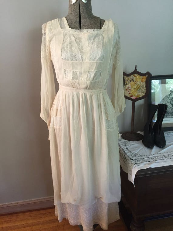 Beautiful Edwardian Silk and Silk Lace Dress