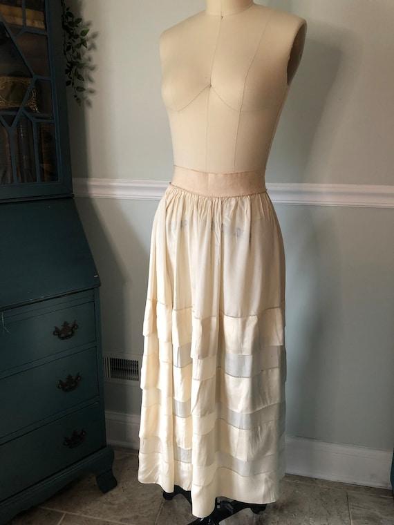 Edwardian Silk Cream Ruffle Skirt