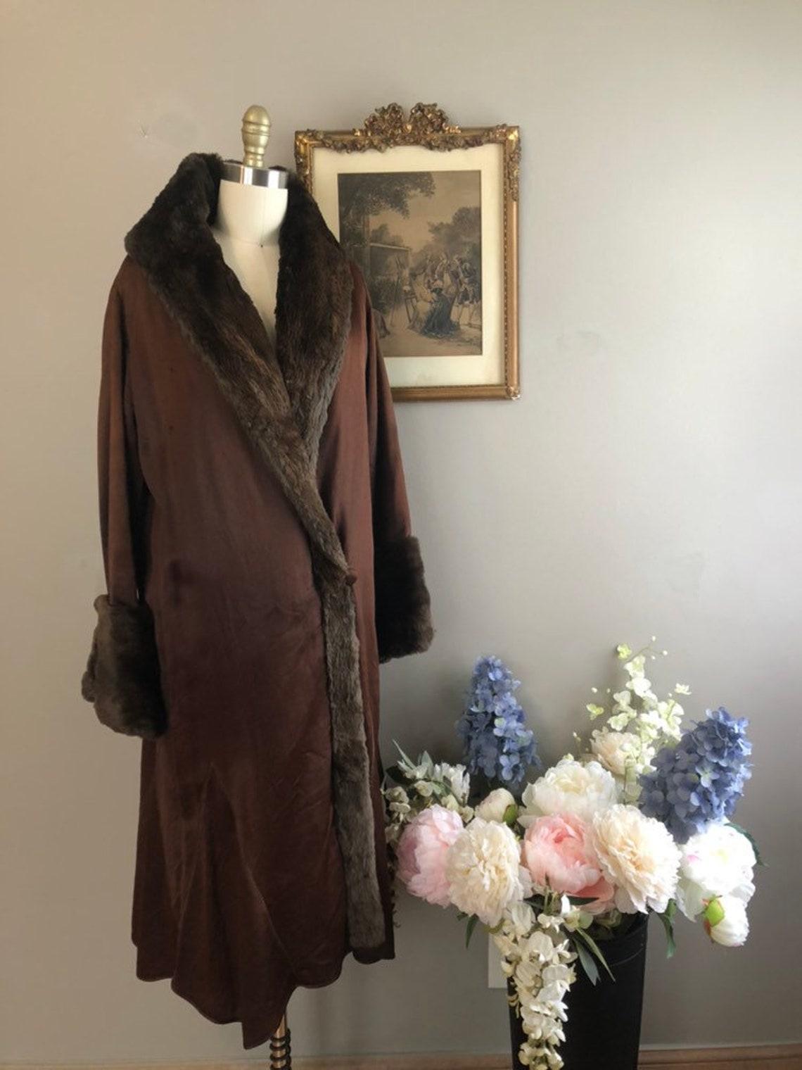 1920's Silk And Fur Coat