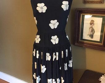 Late 1950's Silk Henri Bendel Navy Dress