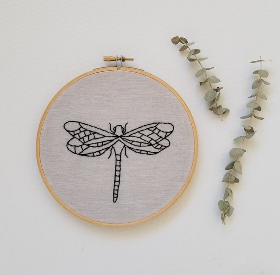 Hand Stitched Modern Dragonfly Embroidery Hoop Linear Etsy