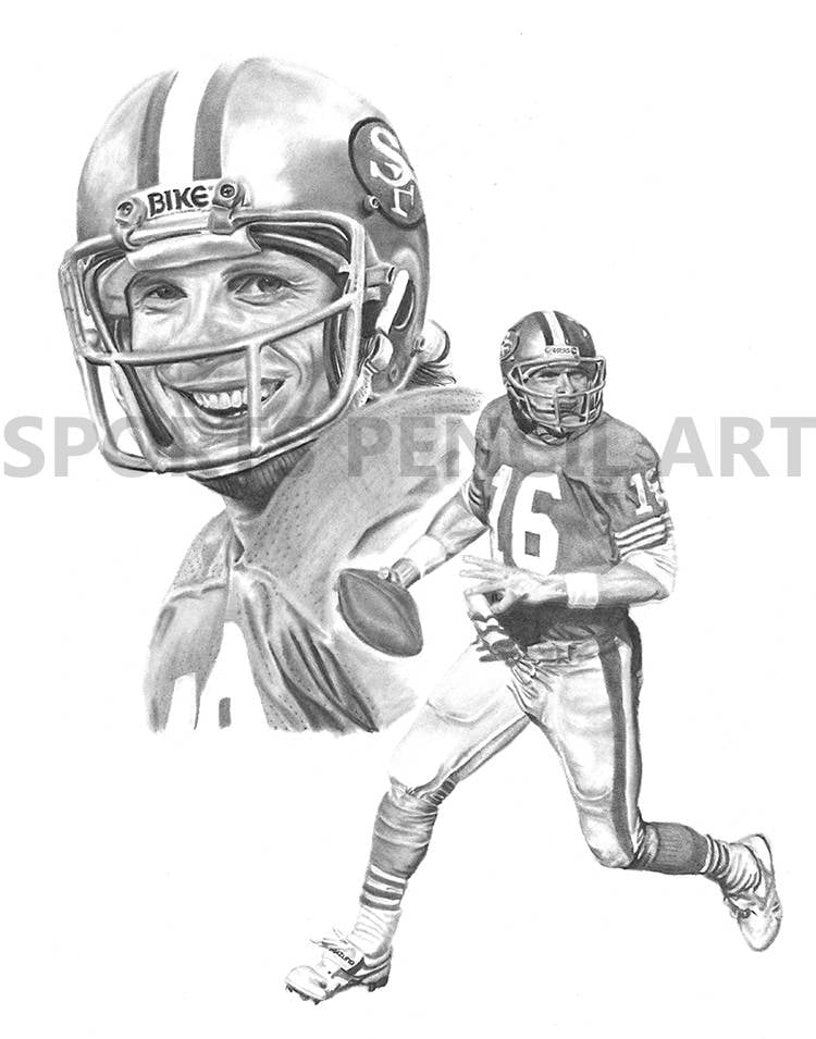 joe montana sports pencil art print san francisco 49ers man cave free shipping