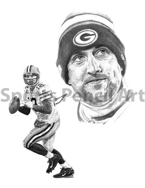 aaron rodgers sports pencil art print green bay packers etsy