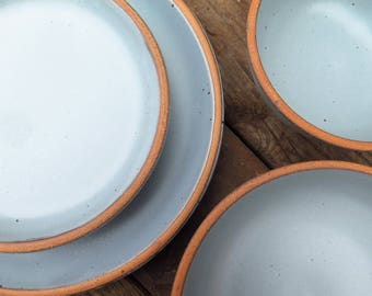Custom Noe Dinnerware Set In Bay Fog // Pale Blue Glaze Grey  Made To Order  Wedding Registry Handmade Pottery Stoneware Dining Set Gift