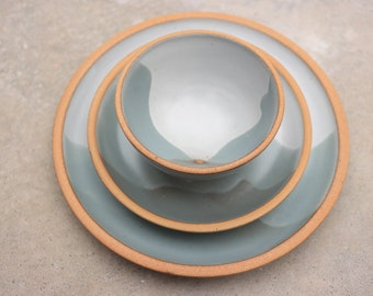 Mountain Design Custom Dinnerware Set in Classic White and Bay Fog, Stoneware Dining Set, Wedding Registry