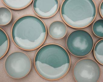 Mountain Design Custom Dinnerware Set in Montara Teal and Bay Fog, Stoneware Dining Set