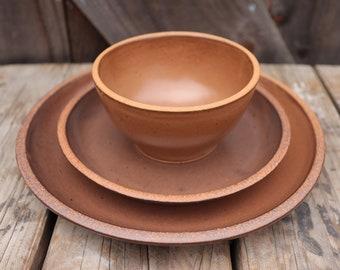 Custom Noe Dinnerware Set in Bourbon // Made to Order Wedding Registry Handmade Pottery Stoneware Dining Set Gift