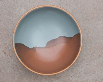 """PRE-ORDER// """"Desert"""" Mountain Design Shallow 8"""" Everything Bowls in Bay Fog and Bourbon"""