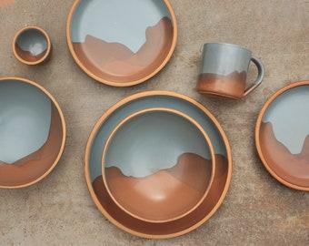 Desert Colorway Mountain Design Pattern Dinnerware Set in Bay Fog and Bourbon