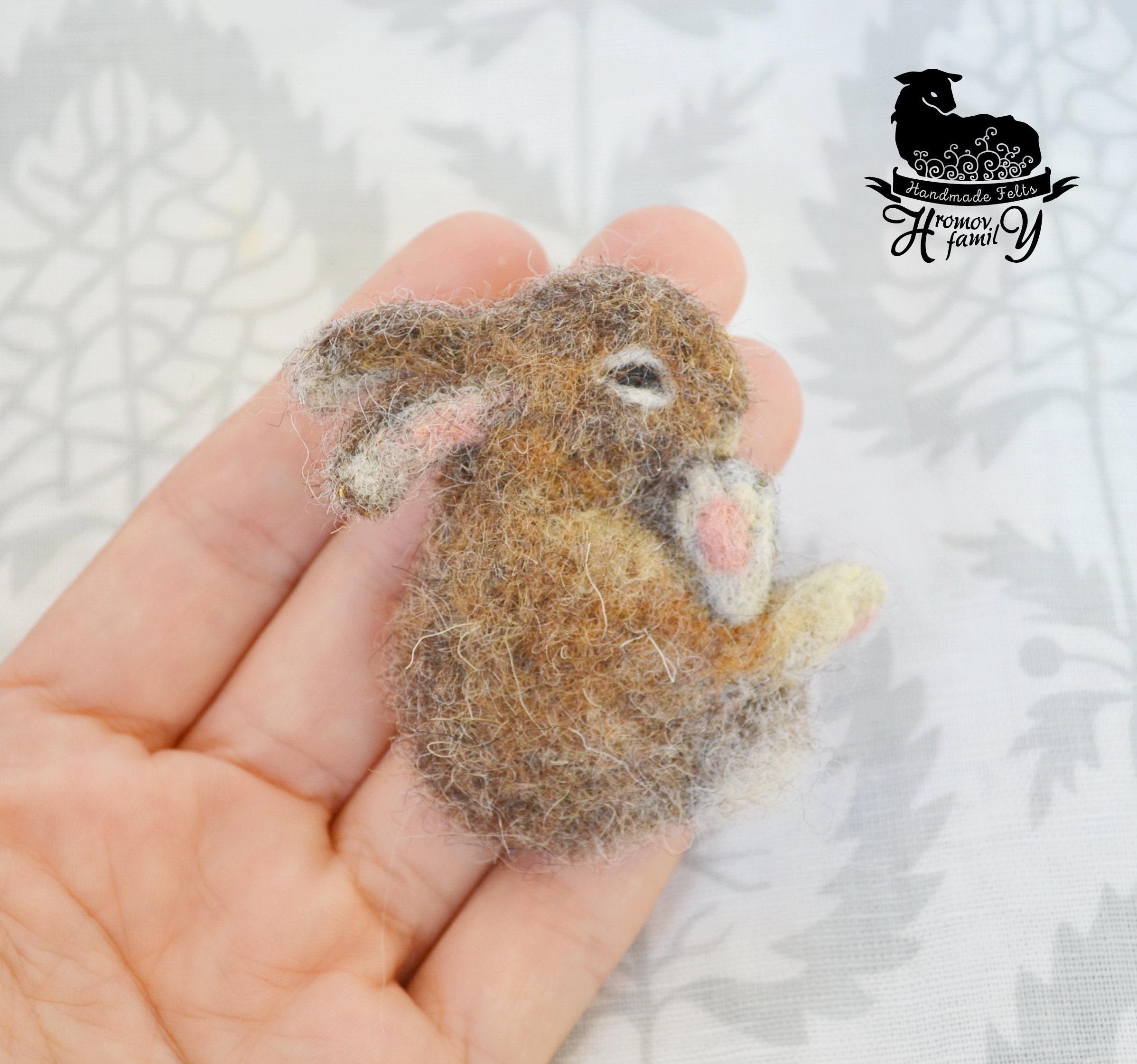 Hase, Hase gefilzt Brosche, schlafen Hase, Hase Stift aus der Wolle