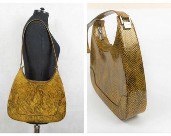 4e4cb2bfa9a1 Balenciaga Paris El Corte Ingles Vintage Handbag Snakeskin Patent Print  Leather Shoulder Bag