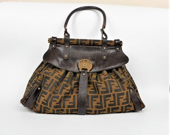 e6ffbd400d89 Authentic Fendi Handbag Zucca Canvas Medium Magic Bag