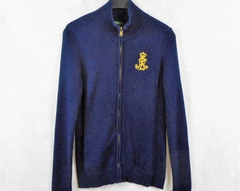 19575501310a3c Lauren Ralph Lauren Sweater Navy Full Zip Cardigan Sweater Gold Logo  Embroidered Cotton Knit Long Sleeve Size M/M