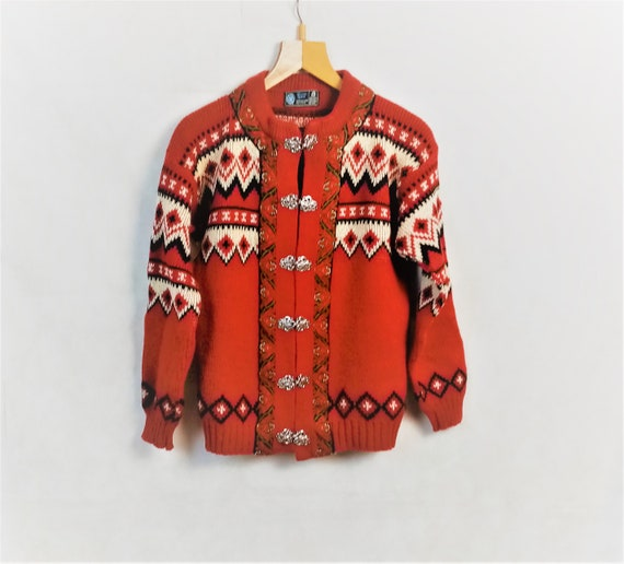 Vintage Kaare Gjose Norway Red White Wool Cardigan