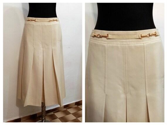 Vintage Celine Skirt, Wool Mid-length Skirt, Ivory