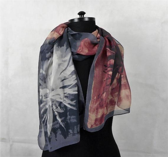 selezione premium 4eedf 29596 Vintage Silk Scarf Enrico Coveri Foulard Pure Silk Chiffon Long Scarf