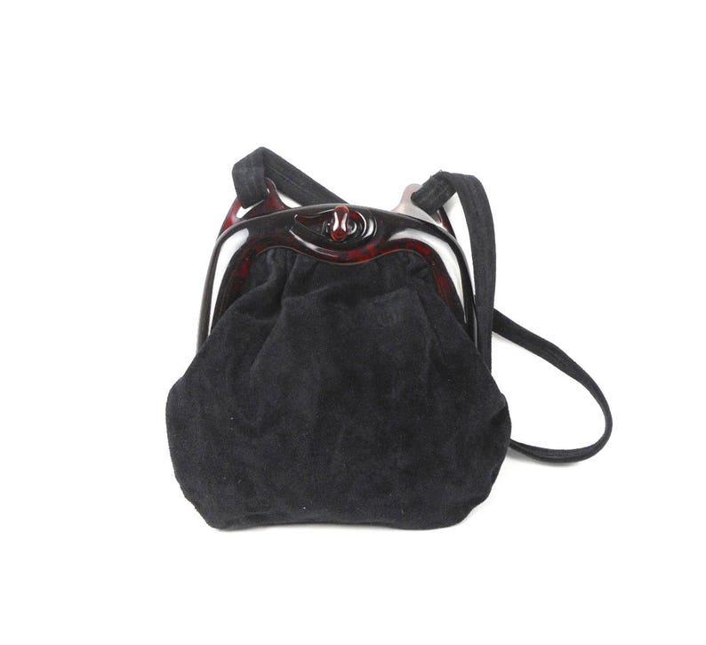 a6f4bada74 Vintage Suede Handbag Black Suede Shoulderbag Vintage Bag