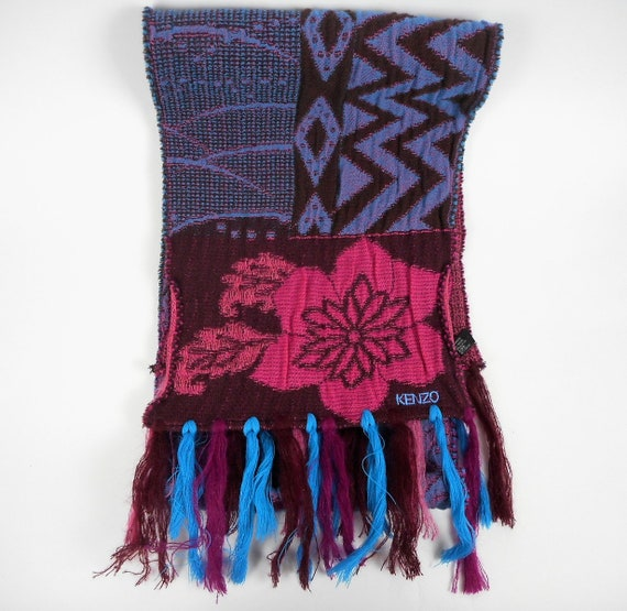 Kenzo  Scarf  Wool and Angora Colorful  Fringed L… - image 4
