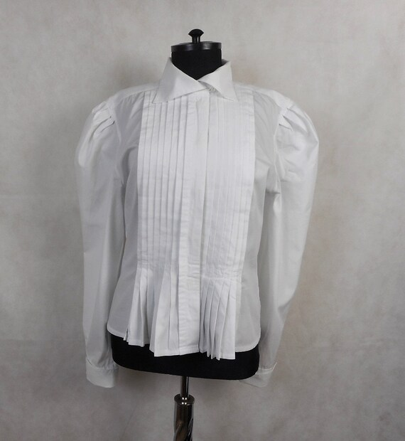 Vintage White Women's Pleated Puff Sleeve Cotton S