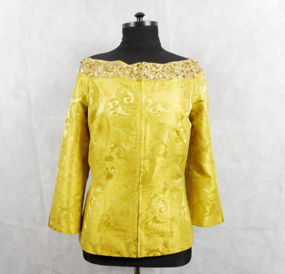 8de4b3db11 Luisa Spagnoli Jacket Silk Blazer Paisley Jacket Yellow | Etsy